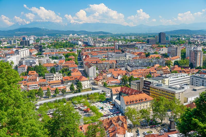 Views from Ljubljana Castle on Castle Hill, Ljubljana, Slovenia