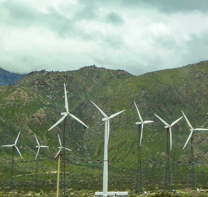 Windmills near Palm Springs in California USA