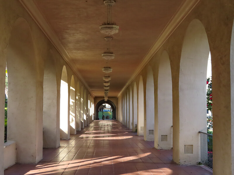 Arched walkway Balboa Park San Diego California USA