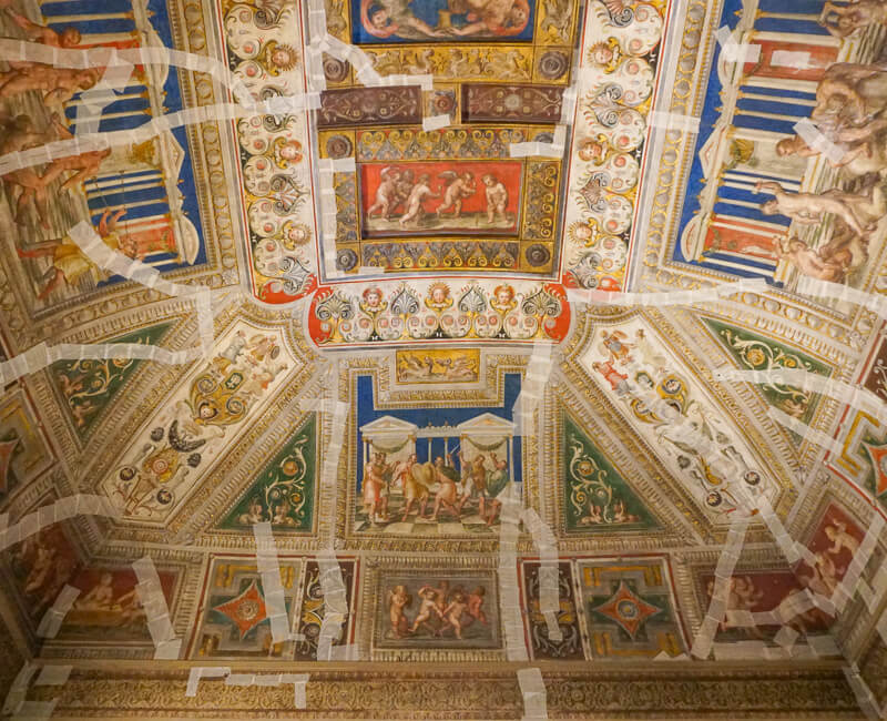 Frescoed ceiling in the Castello Estense in Ferrara, Italy