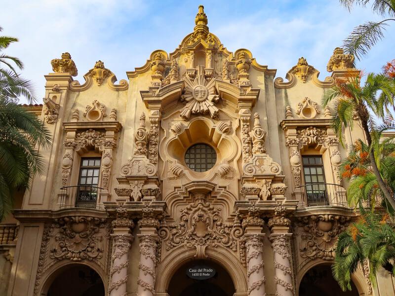 Detail on Facade Casa del Prado Balboa Park San Diego California USA