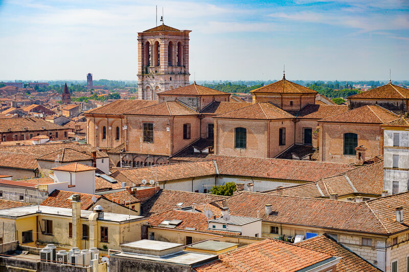 A view of Ferrara, Italy, from the Castello Estense
