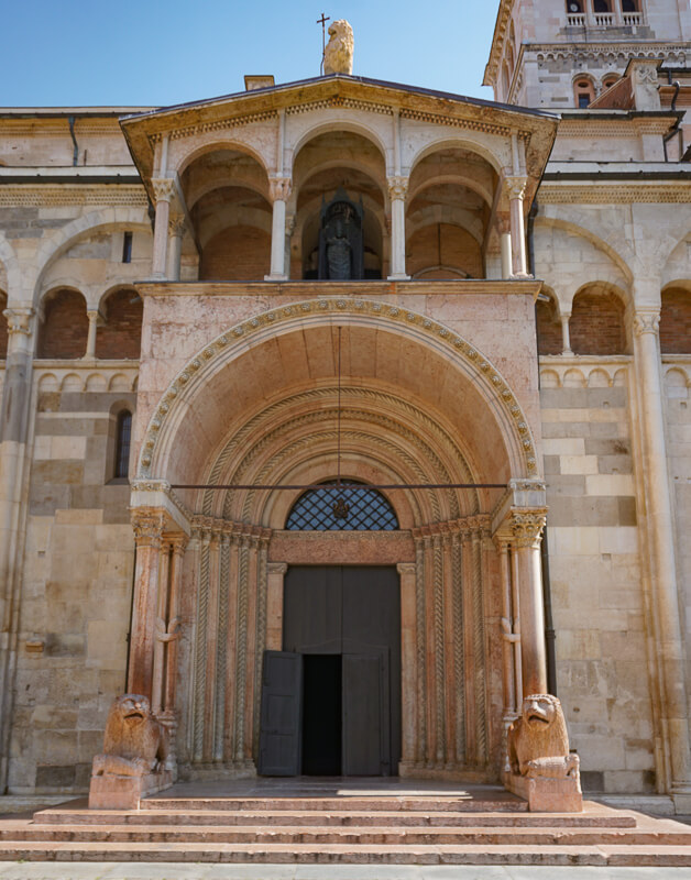 Entrance to the Modena Cathedral in Italy