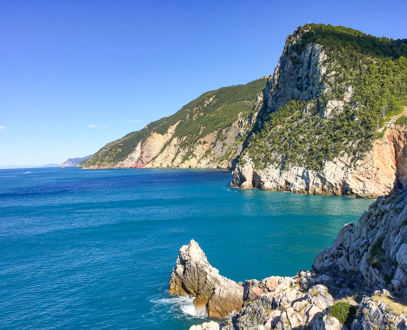 View of the Ligurian Sea in Portovenere, Italy