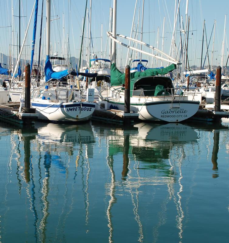 Boats in the harbor at Sausalito California USA