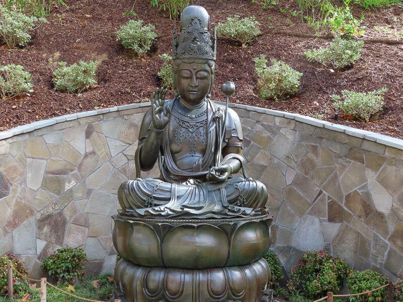 Statue of Kannon Bosatsu Japanese Garden in Balboa Park, San Diego, California, USA