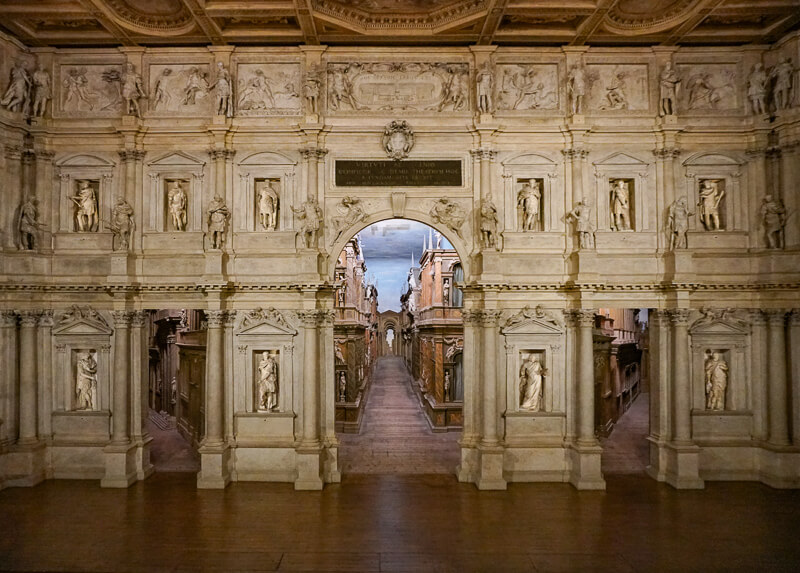 The stage at the Teatro Olimpico in Vicenza Italy