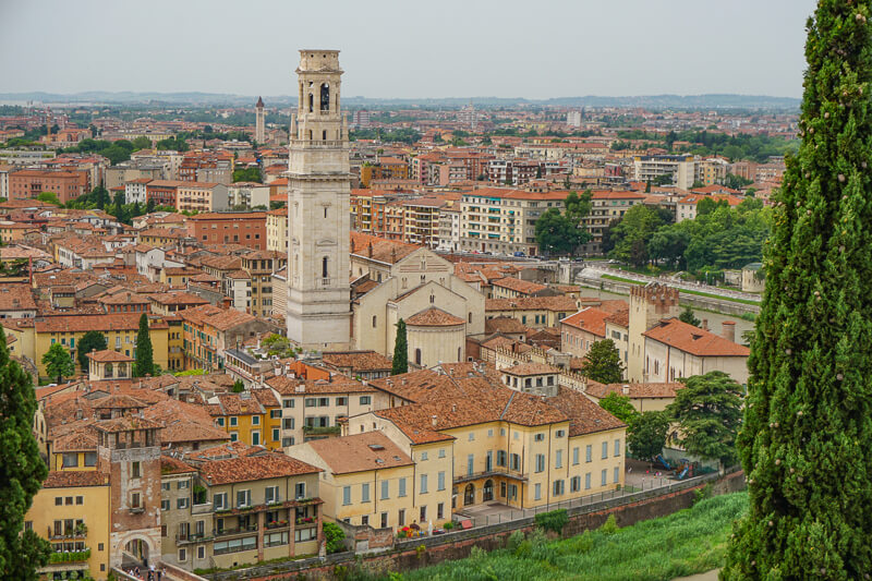 View of Verona Italy from Castel San Pietro