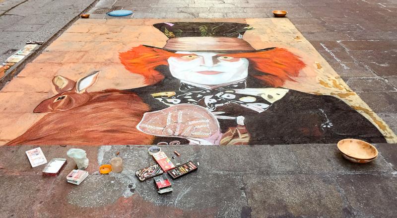 Chalk art Bologna Italy