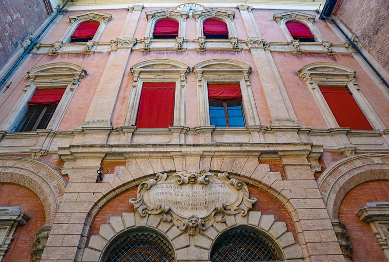Facade of palazzo Piazza Maggiore Bologna Italy