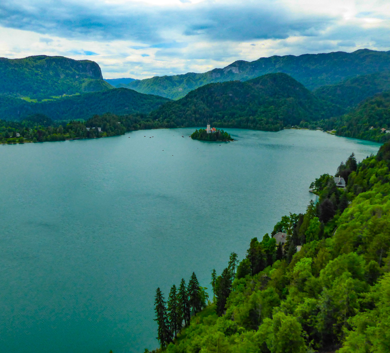 Lake Bled seen from the hilltop Bled Castle in Slovenia