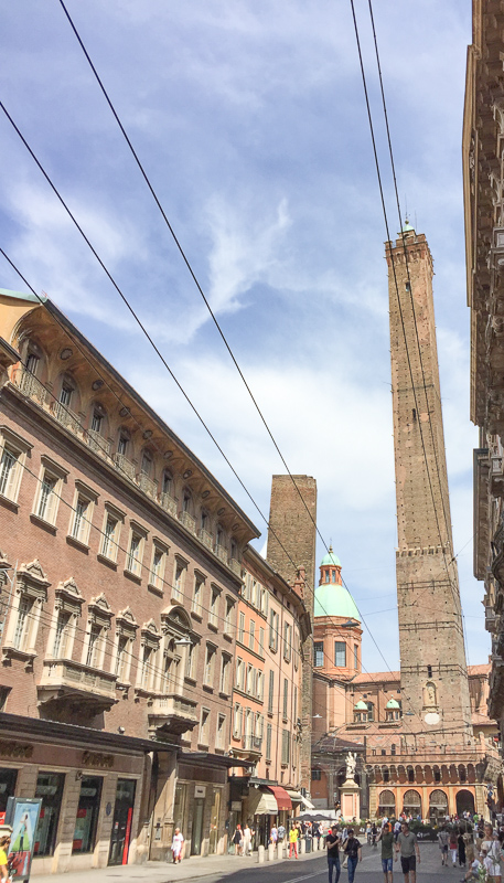 Leaning Towers of Bologna in Italy