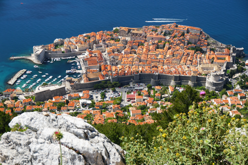 View of Old Town Dubrovnik from Mount Srd Croatia