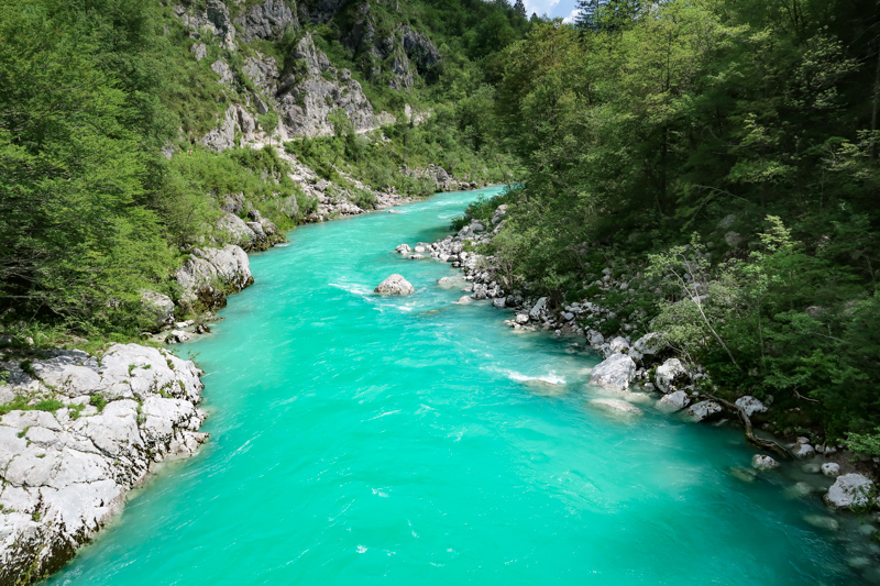 The Aqua Color of the Soca River in Slovenia
