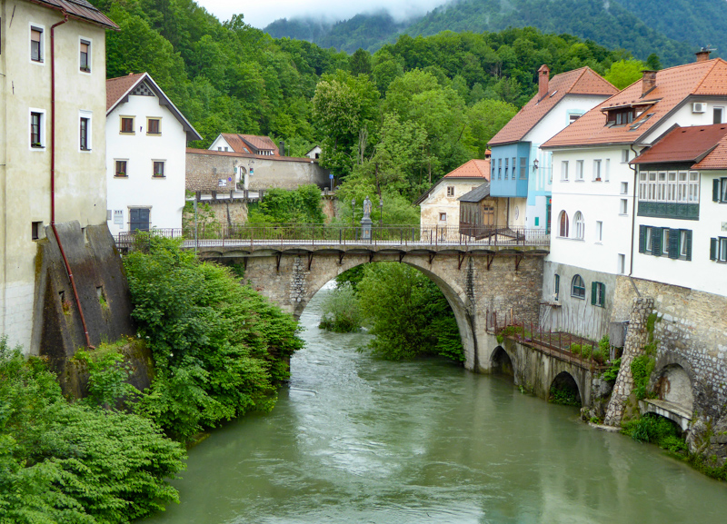 The Capuchin Bridge Sora River Slovenia