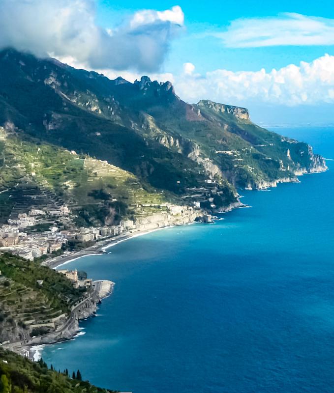 View of Amalfi Coast from Ravello Italy