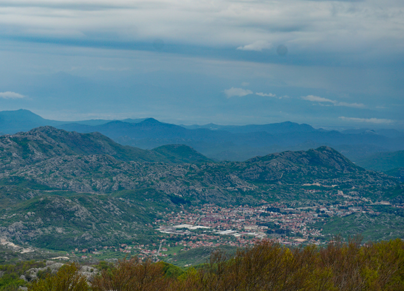 View of Cetinje from Njegos Mausoleum in Lovcen National Park Montenegro