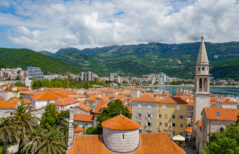 View of Old Town Budva in Montenegro