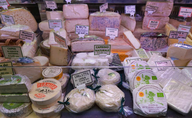 Cheeses on display in the closed market in Padua Italy
