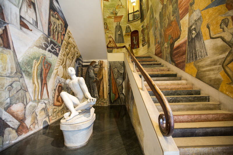 Palazzo Bo, marble entrance stair, made by the italian architect Gio Ponti, at the historical building home of the Padova University from 1539, in Padua.