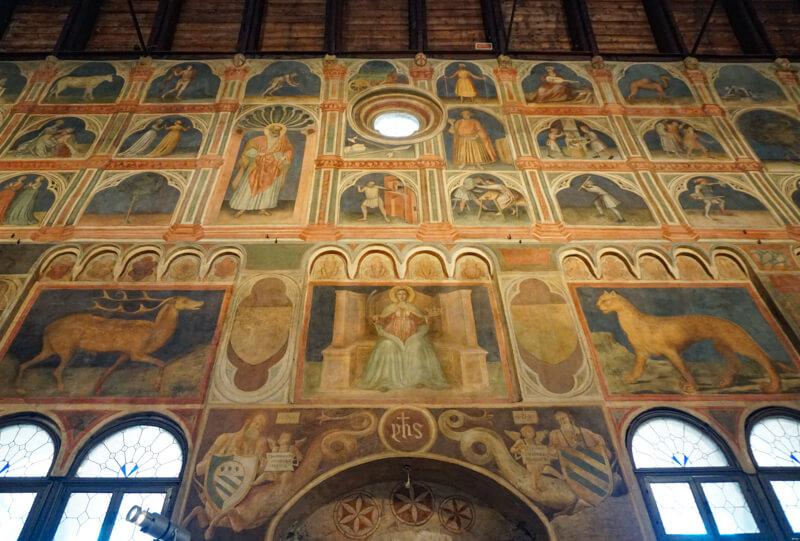 Frescoes inside Palazzo della Ragione Padua