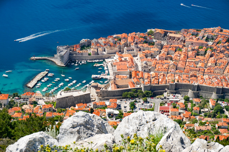 Old Town Dubrovnik from Mount Srd in Dubrovnik Croatia
