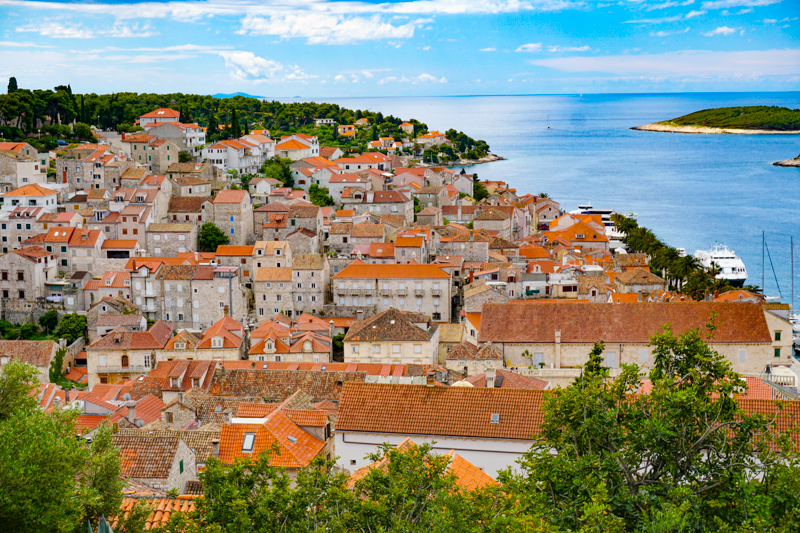 View of Hvar Old Town from Hvar Fortress Croatia