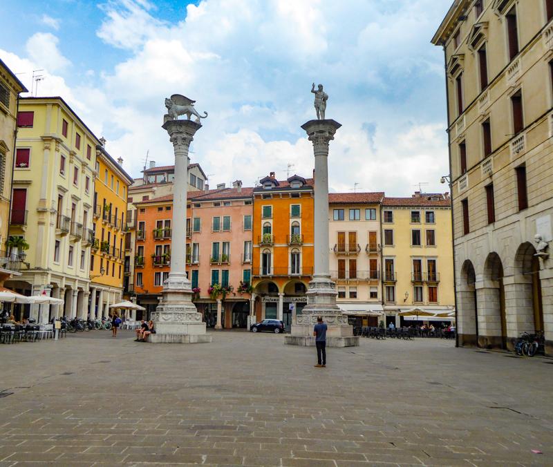 Columns in Piazza dei Signori Vicenza Italy