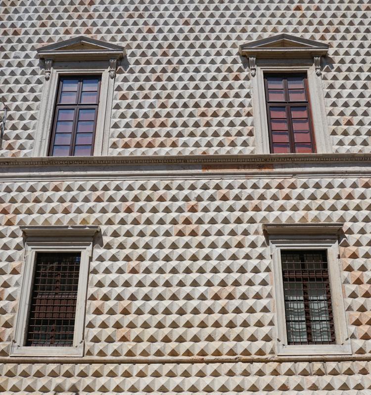 Facade of Palazzo Diamanti Ferrara Italy