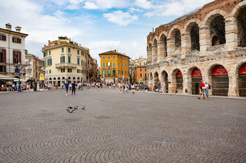 Piazza Bra and Arena in Verona Italy