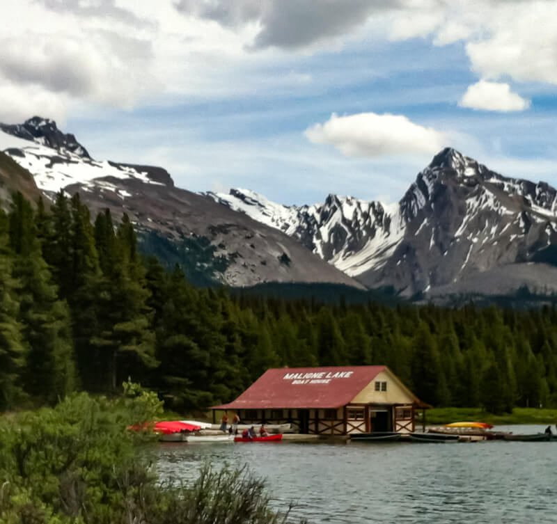 Boathouse at Maligne Lake in Jasper Canada