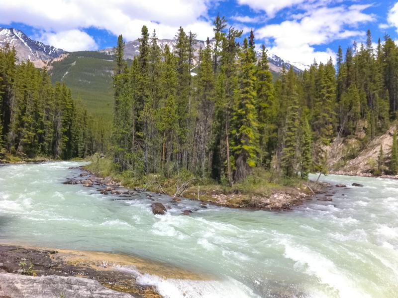 Sunwapta Falls in Jasper Canada