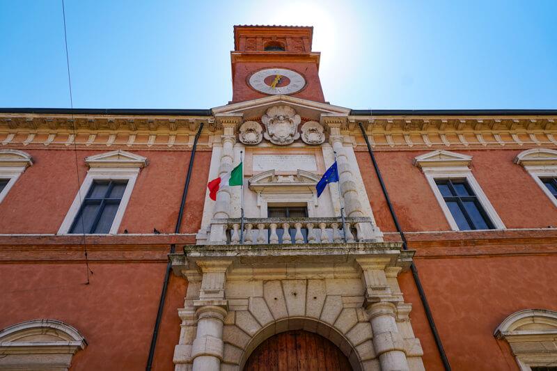 Clock Tower Palazzo Paradiso Ferrara Italy