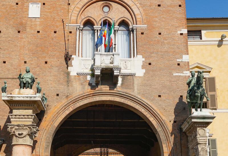 Entrance Palazzo Ducale Ferrara Italy