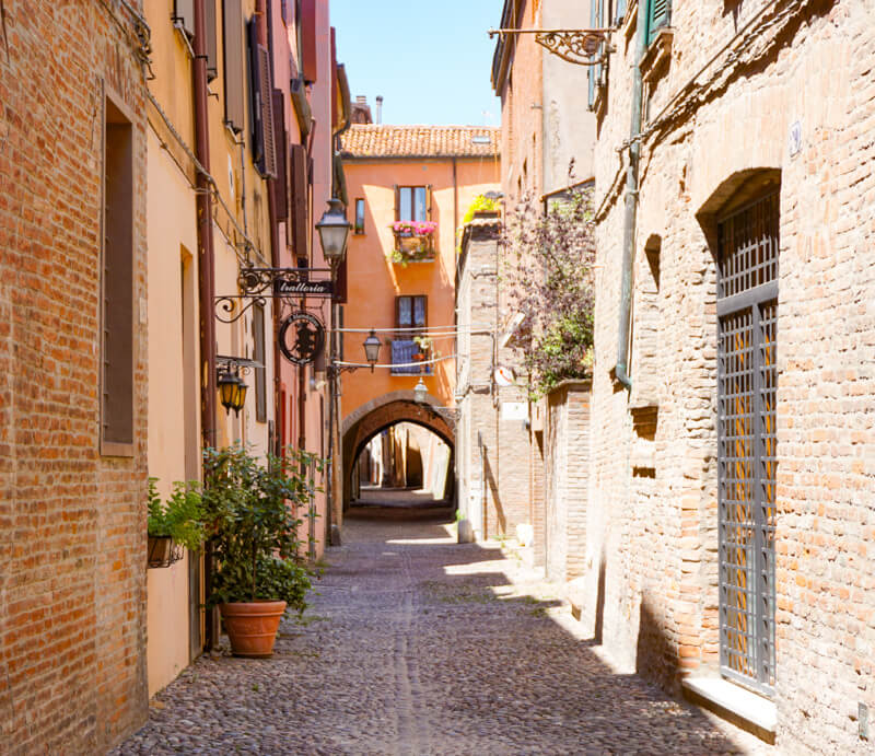 Medieval street in Ferrara Italy