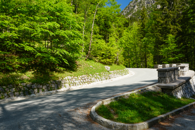 Switchback on Vrsic Pass Road Slovenia