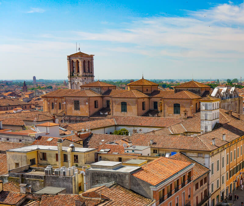 View from Tower of Este Castle Ferrara Italy