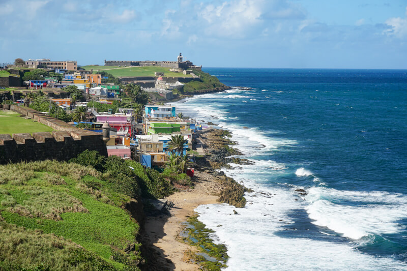 View of La Perla and El Morro from Castillo San Cristobal in Old San Juan Puerto Rico