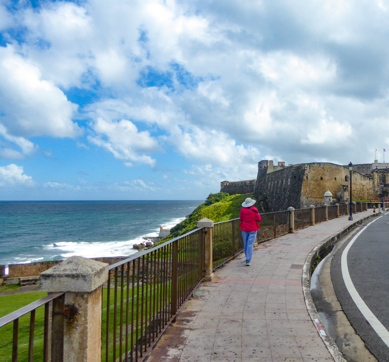 Walking to Castillo San Cristobal from El Morro in San Juan Puerto Rico