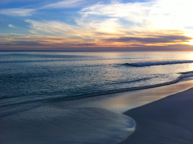 Just after sunset at a Destin beach in Florida