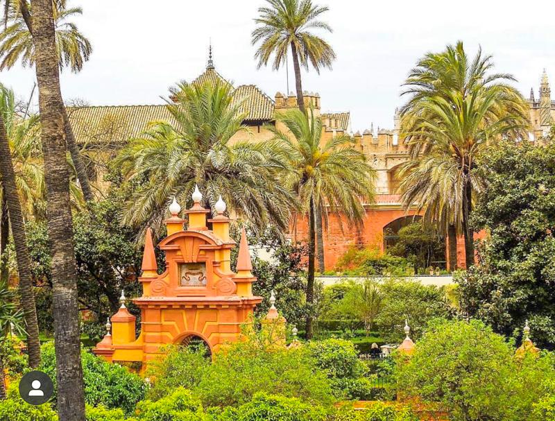 Gardens of the Real Alcazar of Seville Spain