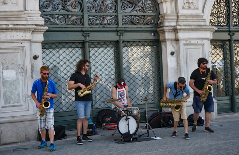 Street musicians in Trieste Italy
