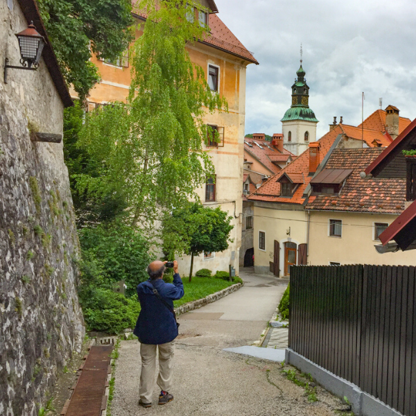 Taking photo in Skofja Loka