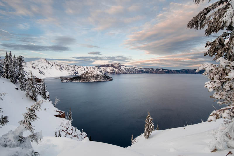 Crater Lake National Park Oregon in winter