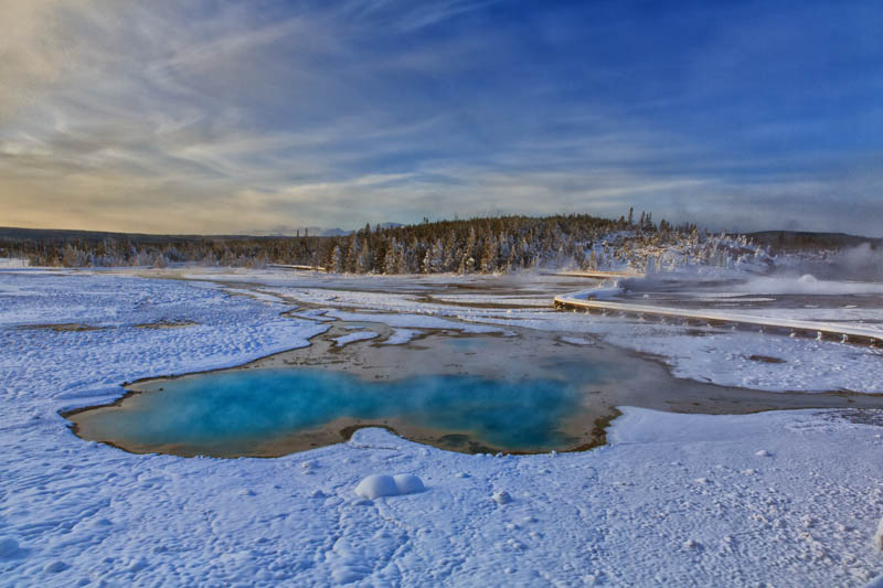 Norris Geyser Basin in Yellowstone National Park in the winter