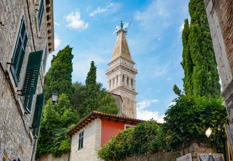 Climbing up to the Church of Saint Euphemia in Rovinj Croatia