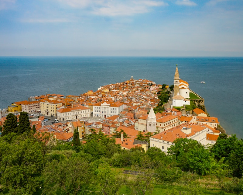 View from Piran town walls in Slovenia