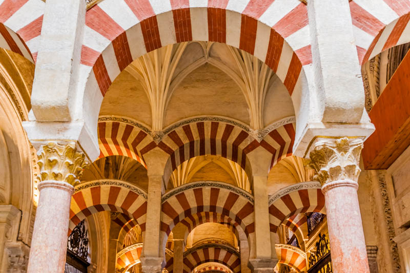 Beautiful architecture in the Mezquita of Cordoba in Andalusia Spain
