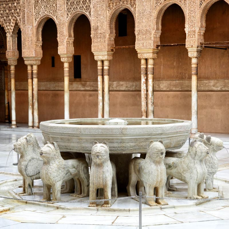 The Patio of the Lions at the Alhambra of Granada in Andalusia Spain