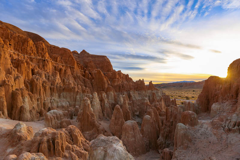 Dramatic Rock Formations at  Cathedral Gorge State Park in Nevada at Sunset